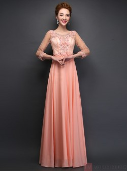A-Line Scoop Floor-Length Chiffon 3&4 Sleeves Pink Prom Dress With Beading