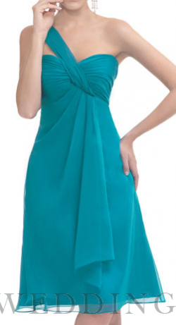 Beautiful Summer Sky Blue One Shoulder Tea Length Chiffon Bridesmaid Dress