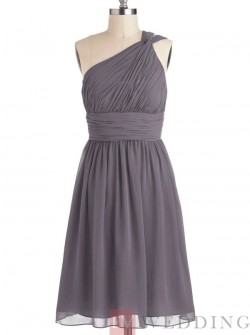 Casual A-Line One Shoulder Knee Length Grey Bridesmaid Dress With Ruched