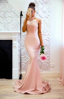 Elegant Mermaid Pink High Neck Prom Dresses 2018 Open Back Lace Evening Gowns_Prom Dresses_2018  ...
