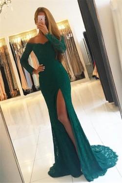 2018 Elegant Side-Slit Lace Off-the-Shoulder Long-Sleeves Green Prom Dresses_Prom Dresses_2018 S ...