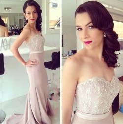 2018 Elegant Sweetheart Bridesmaid Dresses Lace Beads Mermaid Evening Dress_Bridesmaids Dresses_ ...