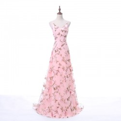 Fashion Long Straps Deep V-Neck 3D Floral Print Blush Pink Long Prom Dress [PS1718] – $128 ...