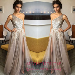 Glamorous A-Line One Sholder Prom Dresses 2018 Sequins Side Slit A-line Evening Gowns BA7524_Pro ...