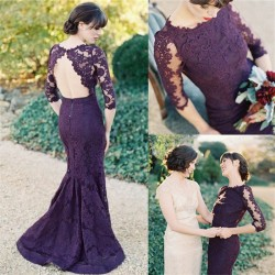 Half Sleeves Open Back Grape Lace Evening Dresses 2018 Elegant Mermaid Wedding Party Dress_Eveni ...