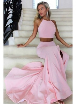 Halter Open Back Sexy Formal Dresses 2017 Two Piece Front Slit Evening Gowns_Prom Dresses_2018 S ...