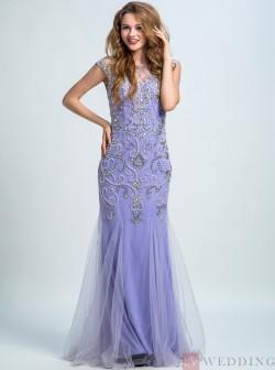 Mermaid&Trumpet Scoop Floor-Length Tulle Sleeveless Lilac Beaded Prom&Evening Dress