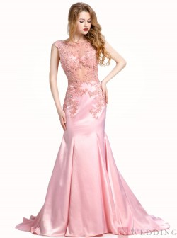 Mermaid&Trumpet Scoop Sweep Train Satin Sleeveless Pink Prom&Evening Dress With Appliques