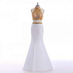 Modern Two Piece High Neck Gold Crystal Beaded White Stain Long Prom Dress [PS1717] – $165 ...