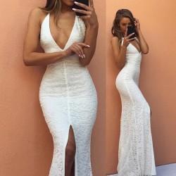 Modest Mermaid Backless Sleeveless V-neck White Lace Front-Split Prom Dress BA7175_Prom Dresses_ ...