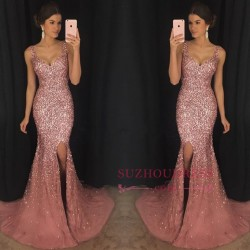 New Arrival Mermaid V-Neck Prom Dresses Crystal Sleeveless Evening Dresses GA0_Prom Dresses_2018 ...