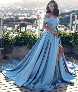 Off The Shoulder Blue Formal Dresses 2018 Elegant Front Split Popular Evening Gown BA6777_Evenin ...