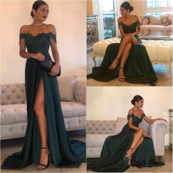 Off-the-Shoulder 2018 Formal Dress Long Lace Split Floor Length Elegant Evening Dress_Evening Dr ...