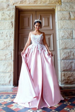 2018 Pink A-Line Prom Dresses Backless Appliques Spaghetti Straps Evening Gowns_Prom Dresses_201 ...