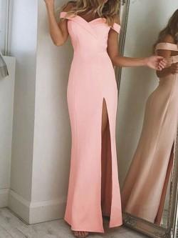 Pink Sheath Off-The-Shoulder Prom Dresses 2018 Simple Side Slit Evening Dresses_Prom Dresses_201 ...