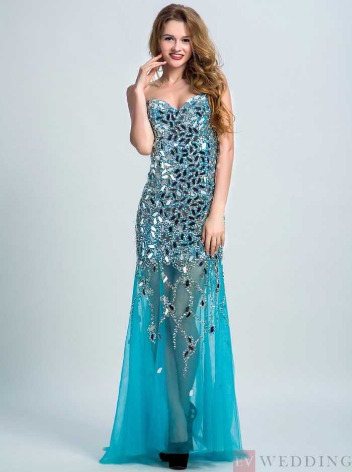 Sexy Mermaid&Trumpet Sweetheart Sweep Train Tulle Blue Lace-Up Beaded Prom&Evening Dress