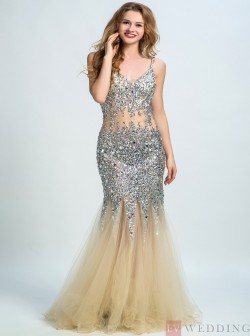 Sexy Mermaid&Trumpet V-Neck Floor-Length Tulle Beige Backless Prom&Evening Dress With Cr ...