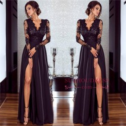 Sexy Split Long Sleeve Evening Dress Cheap Black Lace V-neck 2018 Prom Dresses BA7525_Prom Dress ...