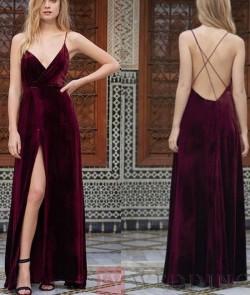 Simple Burgundy V Neck Velvet Long Prom Dresses/Backless Evening Dress