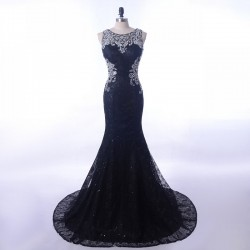 Vintage Lace Black 2018 Crystals Sheer Illusion Back Long Prom Evening Dress [PS1709] – $1 ...