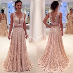 2017 V-neck Full Lace Evening Gowns Sleeveless Elegant Long Formal Prom Dress_Evening Dresses_20 ...