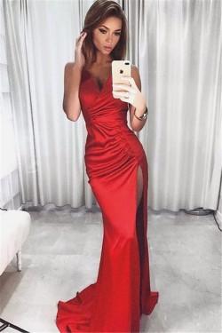 V-neck Side Split Formal Ball Dress 2017 Red Sexy Straps Evening Dress _Evening Dresses_2018 Spe ...