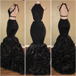 Black Sexy High-Neck Mermaid Prom Dresses 2018 Halter Evening Dresses_Prom Dresses_2018 Special  ...