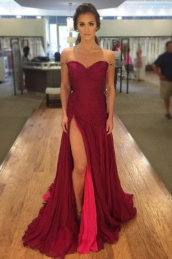 2018 Elegant Red Side-Slit Off-The-Shoulder Prom Dresses Ruched Evening Dresses_Prom Dresses_201 ...