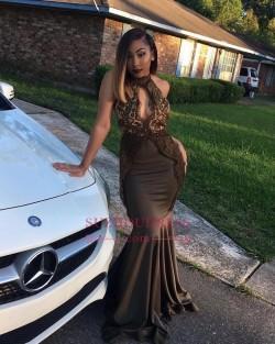 New Arrival Black Mermaid Prom Dresses Appliques High Neck Evening Dresses_Prom Dresses_2018 Spe ...