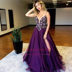 Purple A-line Spaghetti Straps Evening Dresses 2018 Side Slit Crystal Prom Dresses_Evening Dress ...