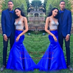 Royal Blue Two Pieces V-Neck Prom Dresses 2018 Mermaid Sleeveless Crystal Evening Dresses_Prom D ...