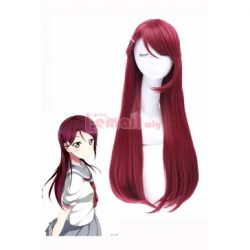 LoveLive!Sunshine!! Sakurauchi Riko Long Straight Dark Red Cosplay Wigs – L-email Cosplay Wig