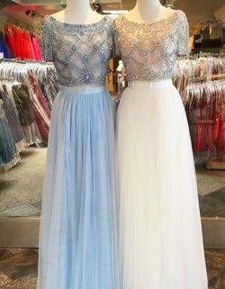 Weiße Zwei Teilige Abendkleider Lang Hellerblau Perlen Etuikleider Abendmoden Online Kafuen