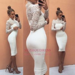 Sexy Sheath Long Sleeves Evening Dresses | High Neck Lace Knee-Length Party Dresses