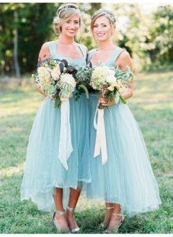 Sky Blaue Brautjungfernkleider Ärmellos Asymmetrische Kleider Für Brautjungfern