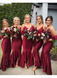 Elegante Brautjungfernkleider Weinrot Lange brautjungfer kleid Online