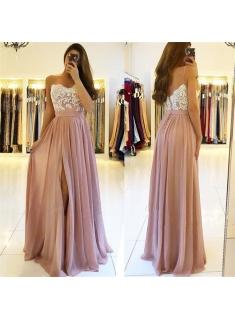 Elegante Chiffon Kleider Abendkleider Lang Günstig Spitze Abendmoden