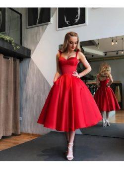 Elegante Rote Cocktailkleider Kurz A Linie Knielange Abiballkleider