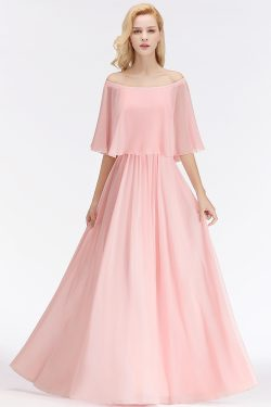 Elegante Brautjungfernkleider Lang Rosa Chiffon KLeider Für Brautjungfern