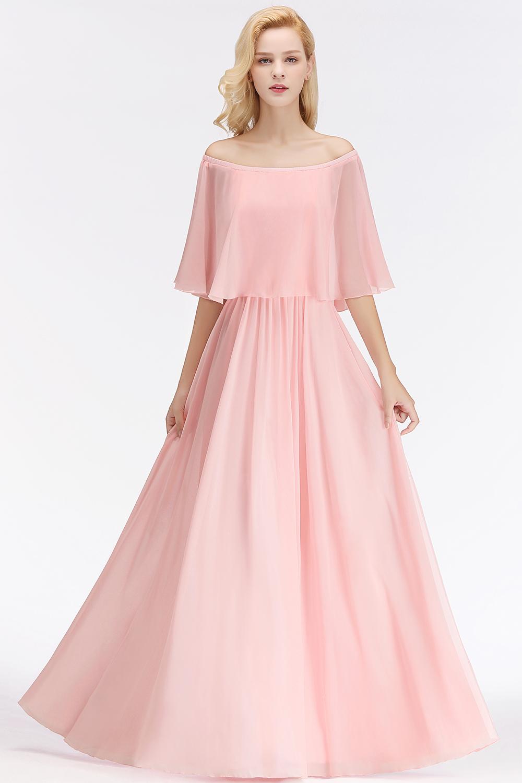 elegante brautjungfernkleider lang rosa chiffon kleider