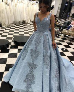 Elegante Blaues Abendkleid Spitze Abendkleider Lang Günstig Online Kaufen