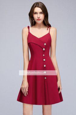 Fashion Kurze Cocktailkleider Weinrot Mini Abiballkleider Online