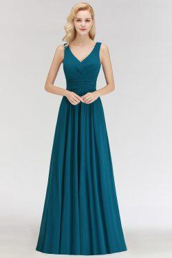 Dunke Grün Chiffon Brautjungfernkleider Lang Günstig Kleider für Brautjungfern