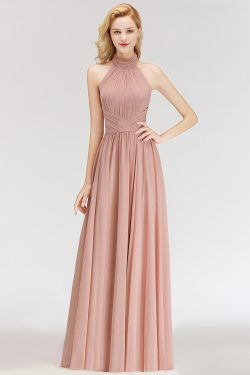Modern Rosa Long Chiffon Brautjungfernkleider Etuikleid Kleider für Brautjunfern
