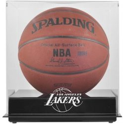 Los Angeles Lakers Fanatics Authentic Mahogany Team Logo Basketball Display Case with Mirrored Back