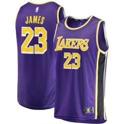 Men's Los Angeles Lakers LeBron James Fanatics Branded Purple 2018/19 Fast Break Replica J ...