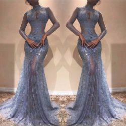 Elegante Blaues Abendkleid Mit Ärmel Spitze Abiballkleider Abendmoden Online