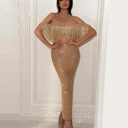 Elegante Abendkleid Gold Lang Pailletten Abiballkleider Ballkleider Online