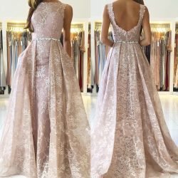 Rosa Abendkleider Lang Günstig | A Linie Spitze Abendkleid Online