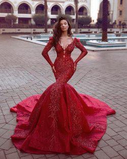 Fashion Rote Abendkleider Lang Günstig | Abendkleid Mit Ärmel